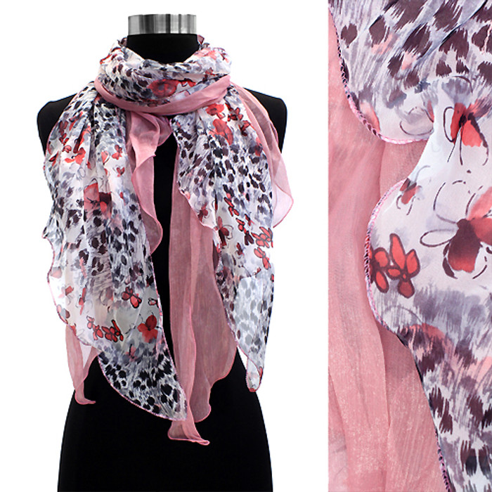 Duo Layered Floral Leopard Animal Chiffon Scarf Pink