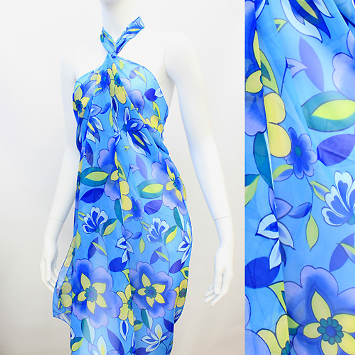 Beach Sarong Pareo Wrap Tropical Flower Blue Yellow