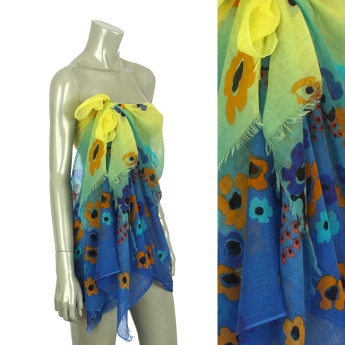Beach Sarong Pareo Shawl Wrap Flower Ombre Yellow