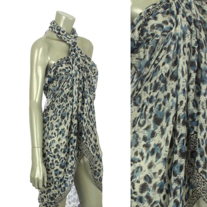 Beach Sarong Pareo Shawl Wrap Leopard N Border Blue