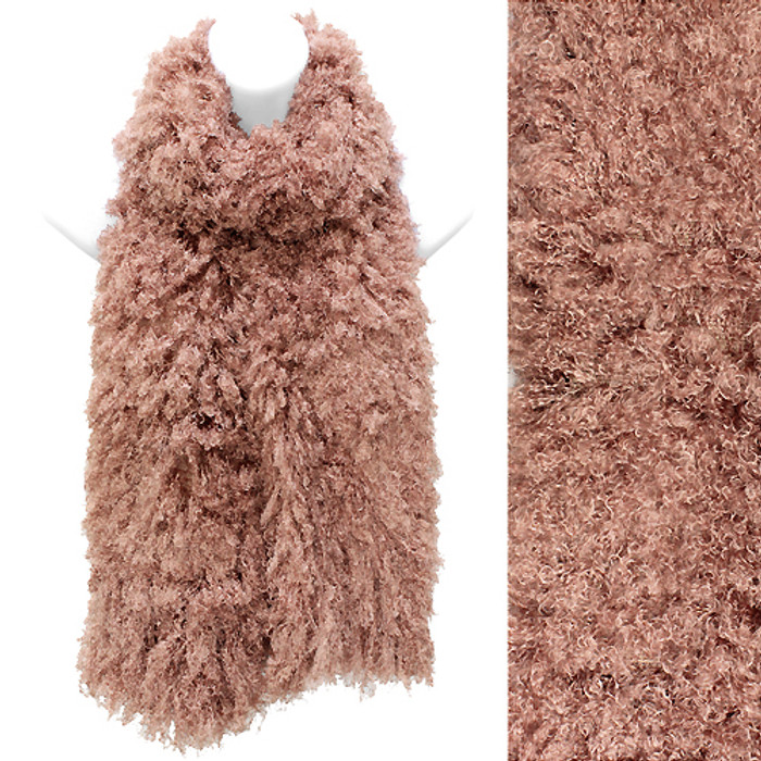 Soft Luxurious Synthetic Faux Curly Fur Long Puffy Scarf Pink