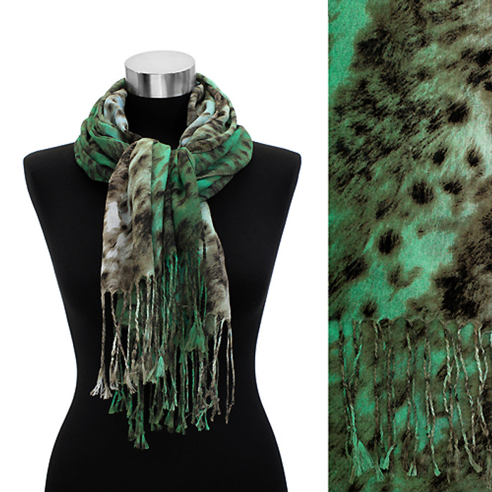 Leopard Animal Print with Fringe Fashion Trendy Scarf Green