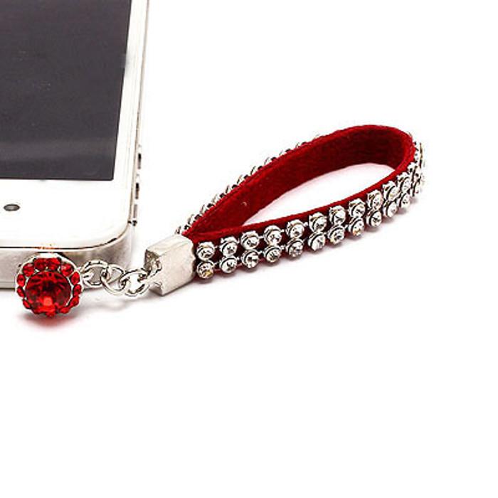 Earphone Dustproof Plug Stopper Phone Ear Cap Crystal Strap Design Clear Red