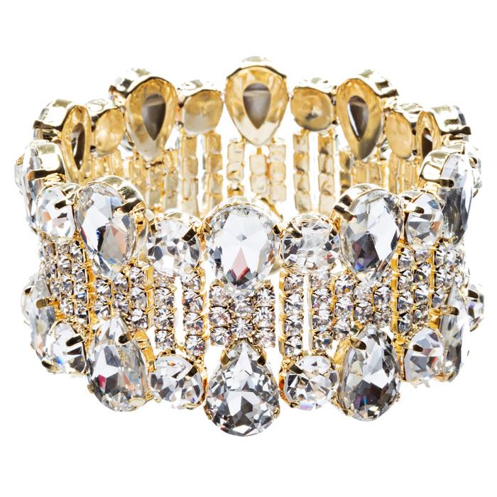 Bridal Wedding Jewelry Crystal Rhinestone Teardrop Bead Stretch Bracelet Gold