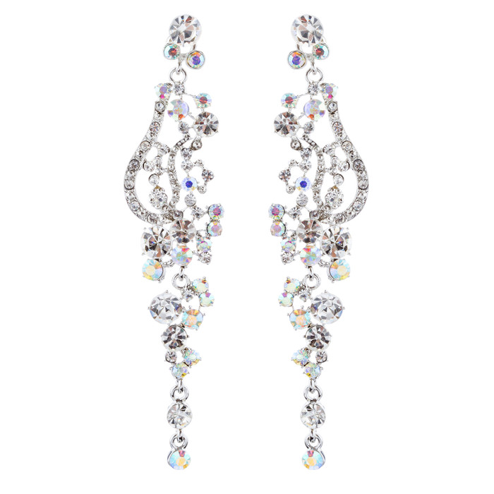 Bridal Wedding Jewelry Crystal Rhinestone Vintage Long Dangle Earring Silver