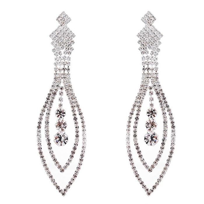 Bridal Wedding Jewelry Crystal Rhinestone Navette Linear Dangle Earrings Silver