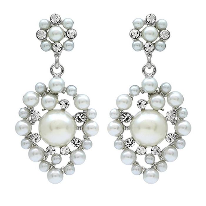 Bridal Wedding Jewelry Crystal Rhinestone Multi Pearl Dangle Earrings Ivory
