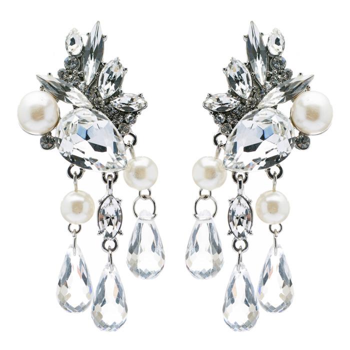 Bridal Wedding Jewelry Crystal Rhinestone Pearl Stunning Chic Dangle Earrings