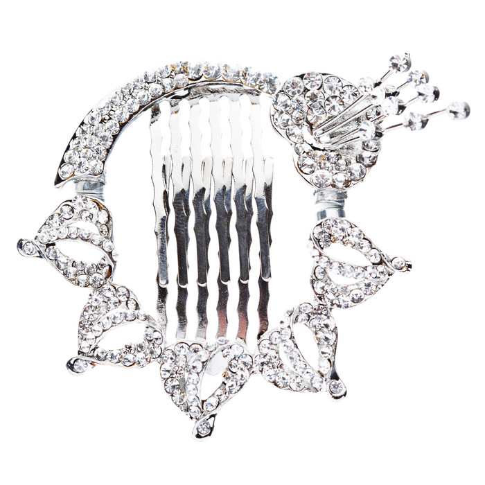 Bridal Wedding Jewelry Crystal Floral Beautiful Magnetic Clasp Hair Pin Silver