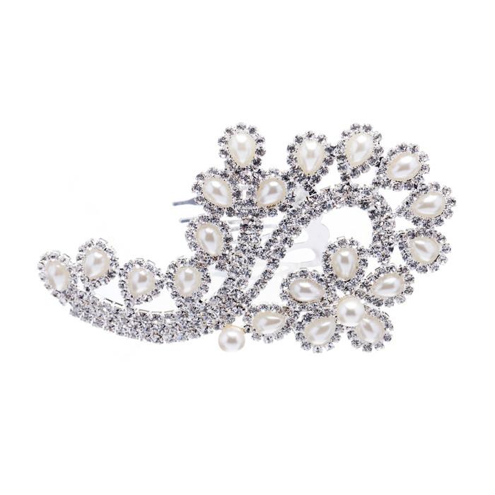 Bridal Wedding Jewelry Crystal Rhinestone Pearl Floral Teardrops Hair Comb Pin