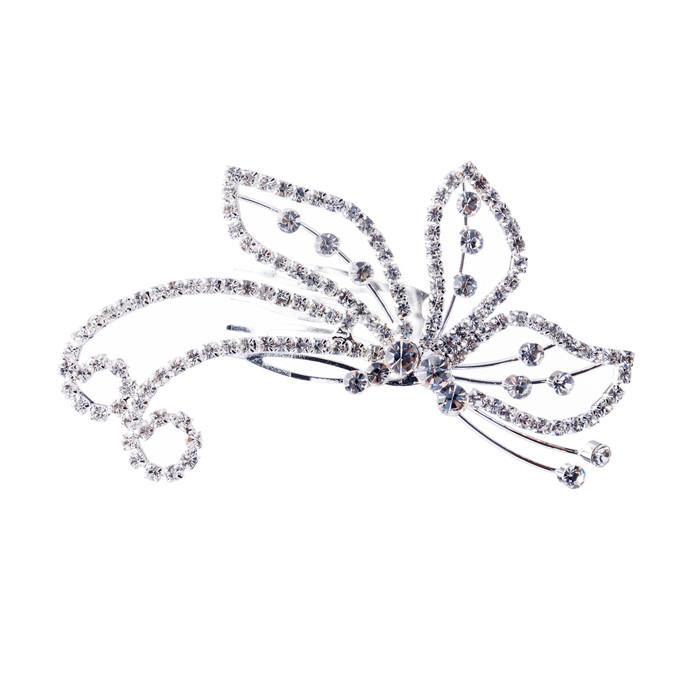 Bridal Wedding Jewelry Crystal Rhinestone Beautiful Side Butterfly Hair Comb Pin