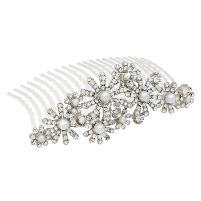Bridal Wedding Jewelry Crystal Rhinestone Elegant MidSize Floral Hair Tiara Comb