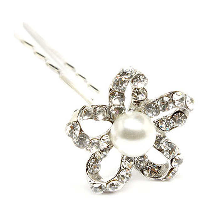 Bridal Wedding Jewelry Crystal Rhinestone Pearl Open Petal Floral Hair Pin White