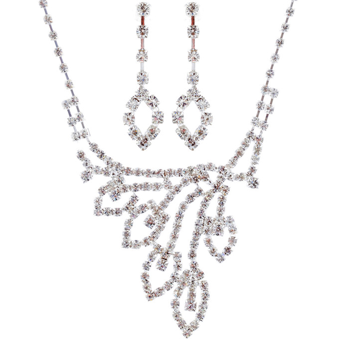 Bridal Wedding Jewelry Set Crystal Rhinestone Navette Necklace Earring Silver