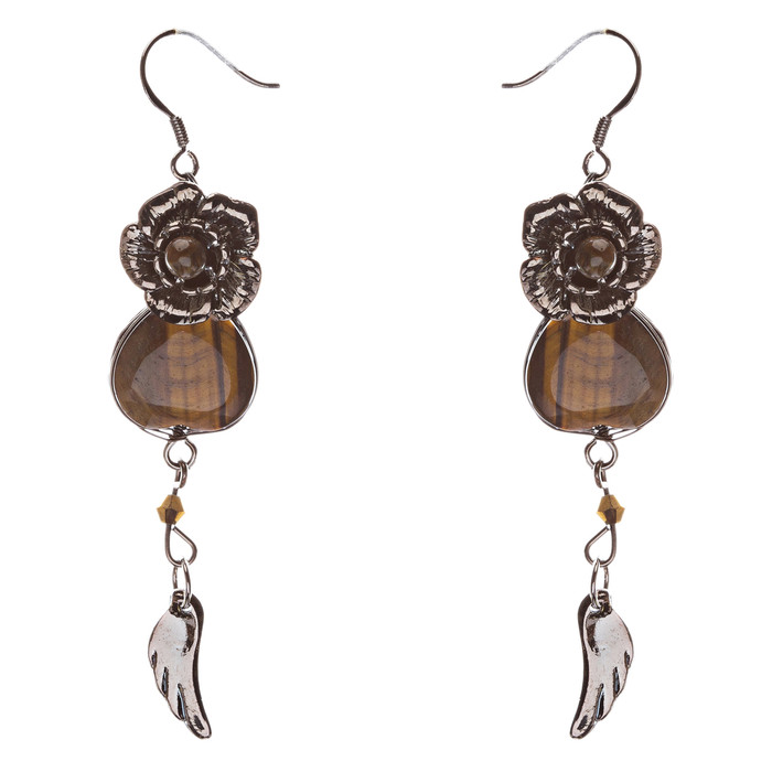 Fashion Floral Formica Linear Dangle Earring Brown SALE
