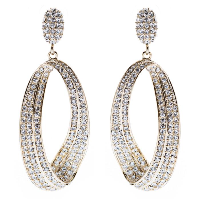 Fashion Stunning Crystal Open Hoop Drop Earrings Gold