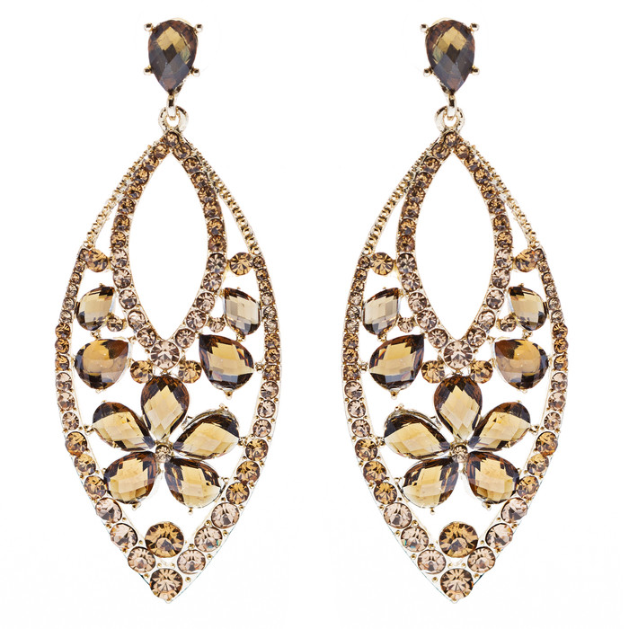 Fashion Stunning Crystal Floral Navette Earrings Brown