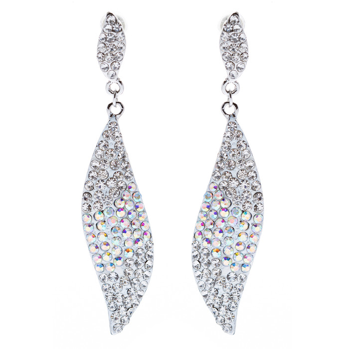 Fashion Bridal 3 Tone Dangle Earring White Silver Clear