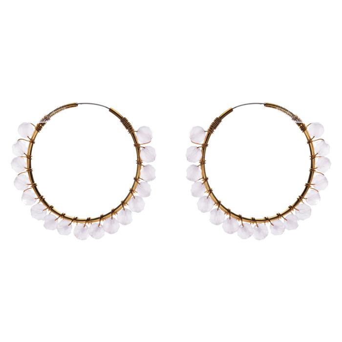 Crystal Wired Handmade Beautiful Fashion Dangle Hoop Earrings Gold Pink