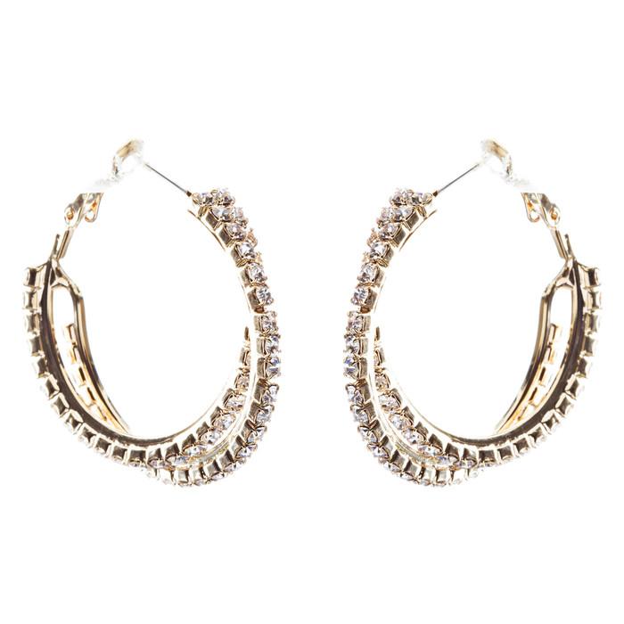 Beautiful Dazzling Crossed Double Row Crystal Rhinestone Hoop Earring Gold