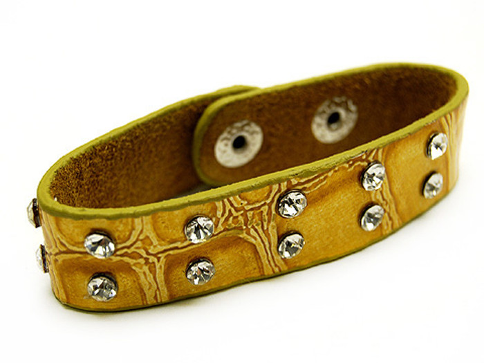 Crystal Studs Faux Alligator Leather Wristband Cuff Bracelet Snap Closure Yellow