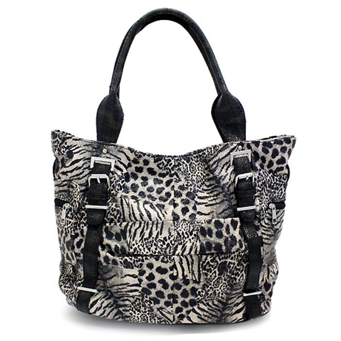 Multi Animal Print Leopard Zebra Giraffe Faux Leather Tote Handbag Bag Black