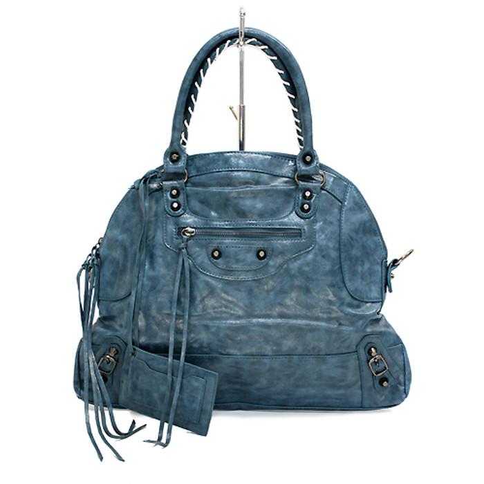 Faux Leather Leatherette Tassels Washing Design Flat Satchel Handbag Bag Blue