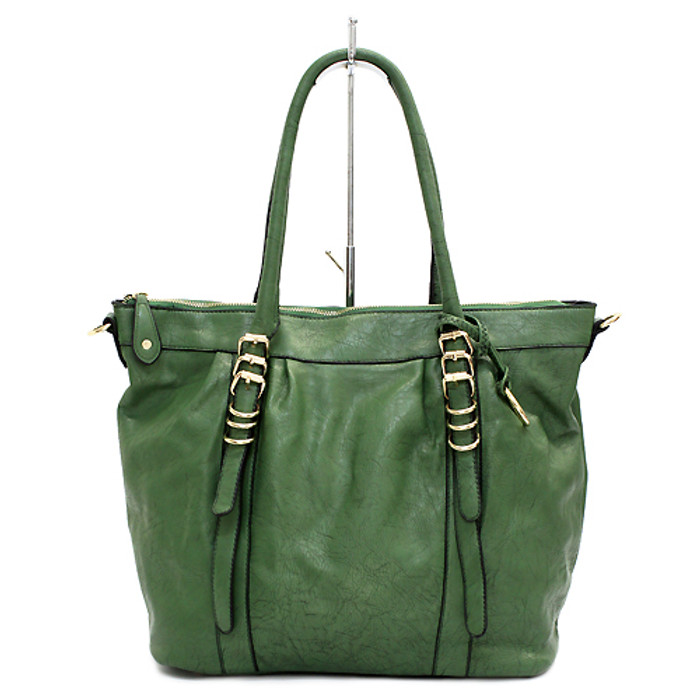 Faux Leather Buckle Design Fashion Tote Handbag Bag Beautiful Green