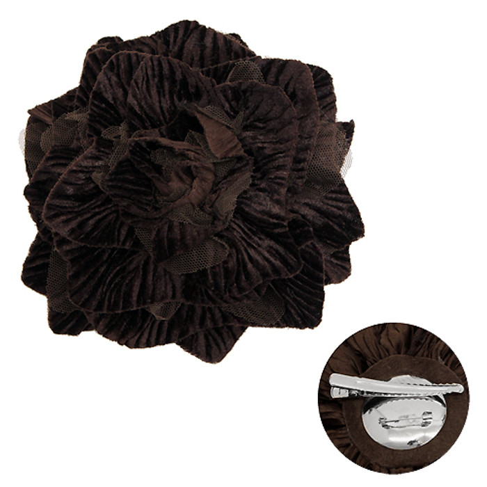 2-Way Velvet Big Flower Corsage Brooch Hair Pin Brown
