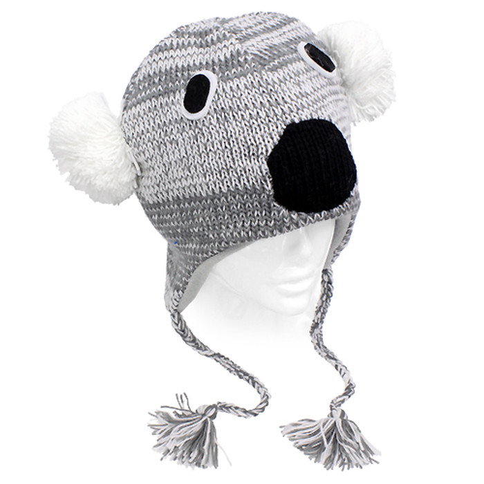 Knitted 3D Animal Trooper Trapper Hat Ear Flaps Braided Tassels Gray Koala