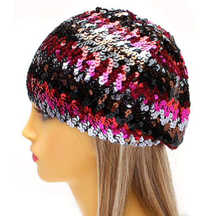 Sparkle Glitter Sequin Lightweight Fashion Beanie Hat Multi-Colored Fuchsia Pink