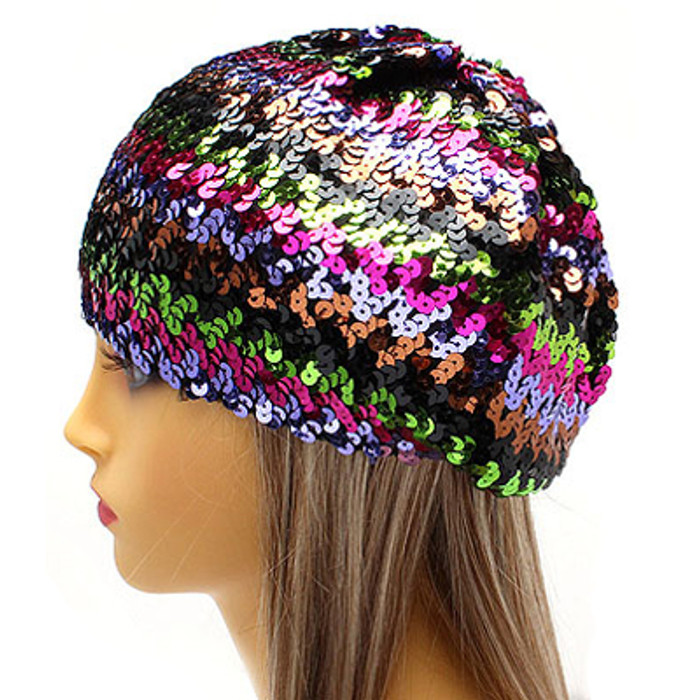 Sparkle Glitter Sequin Lightweight Fashion Beanie Hat Multi-Colored Purple