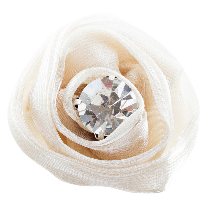 Organdy Fabric Floral Rose Adjustable 1 Ring Creme