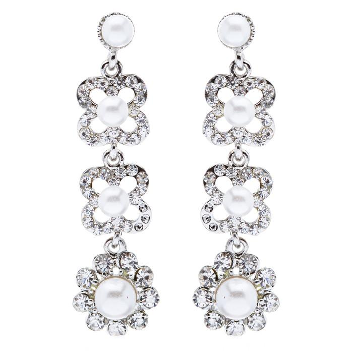 Bridal Wedding Jewelry Rhinestones Pearl Floral Earring