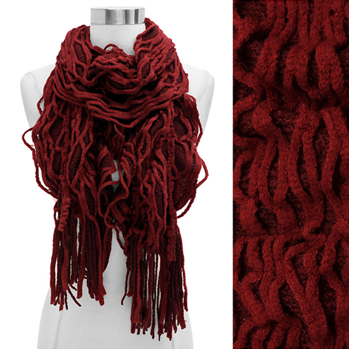 Double Layered Two Tone Ruffle Fringed Cold Weather Fashion Scarf Red