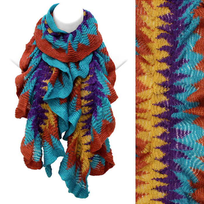 Multi Tone Ruffle Knit Cold Weather Fashion Scarf Orange Blue