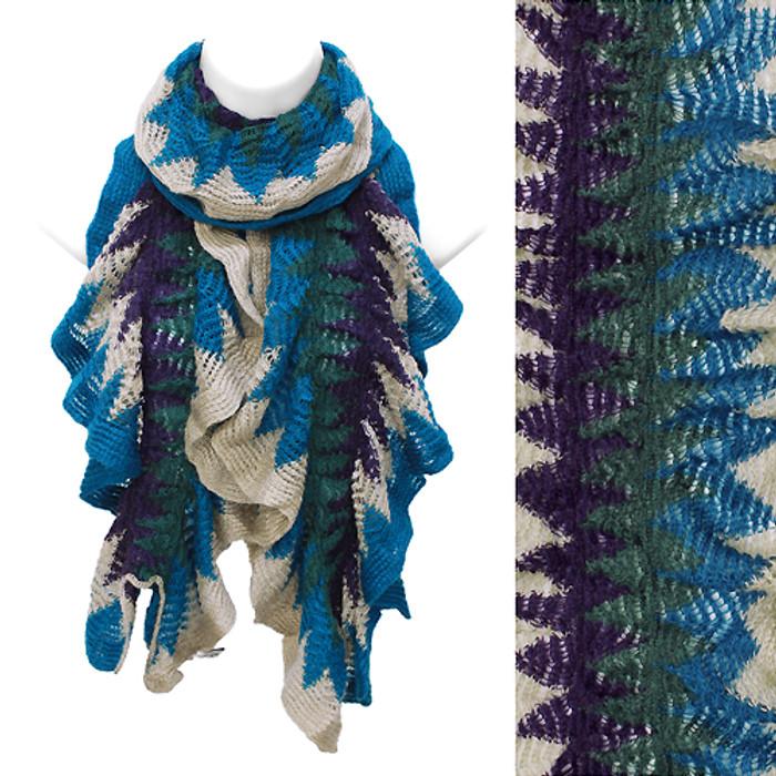 Multi Tone Ruffle Knit Cold Weather Fashion Blue Purple