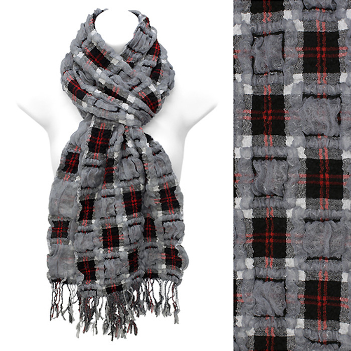 Plaid Block Check Pattern Design Double Side Muffler Scarf Black Gray