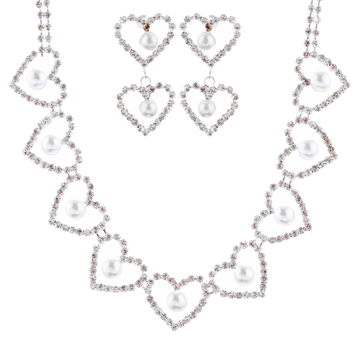 Bridal Wedding Jewelry Set Crystal Rhinestone Pearl Heart Link Necklace SV