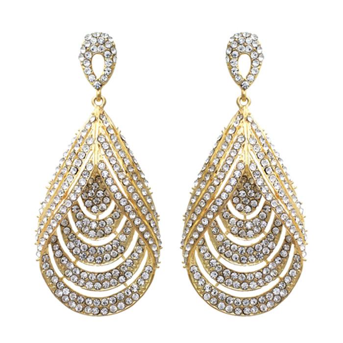 Bridal Wedding Jewelry Brilliant Layered Teardrop Dangle Fashion Earrings Gold