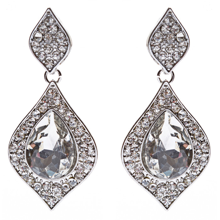 Bridal Wedding Jewelry Glamour Dazzle Crystal Dangle Fashion Earrings Silver