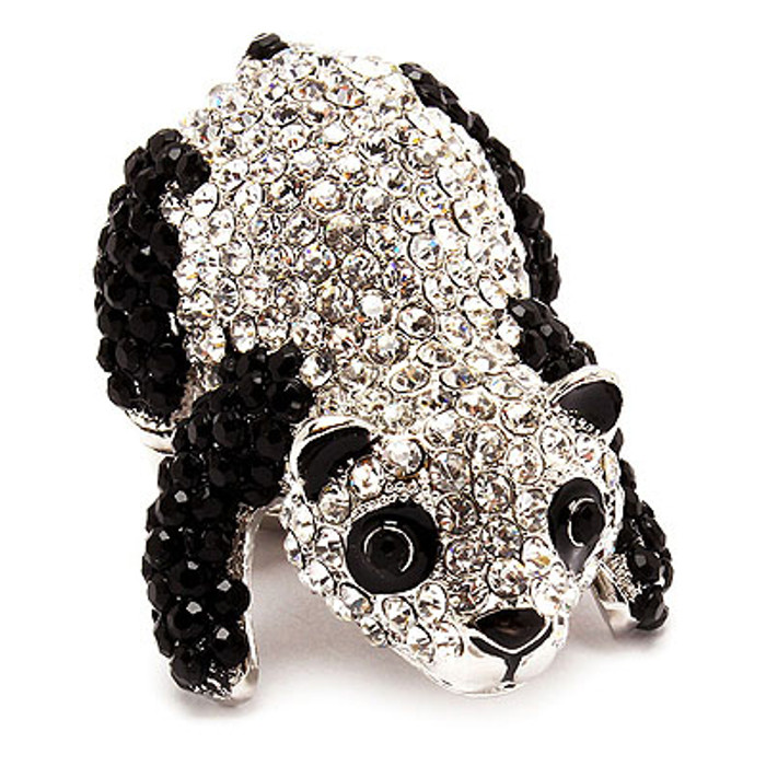 Adorable Sparkle Fun Panda Crystal Rhinestone Stretch Fashion Ring Black Silver