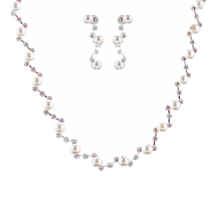 Bridal Wedding Jewelry Set Crystal Rhinestone Pearl Patterned Necklace Earrings