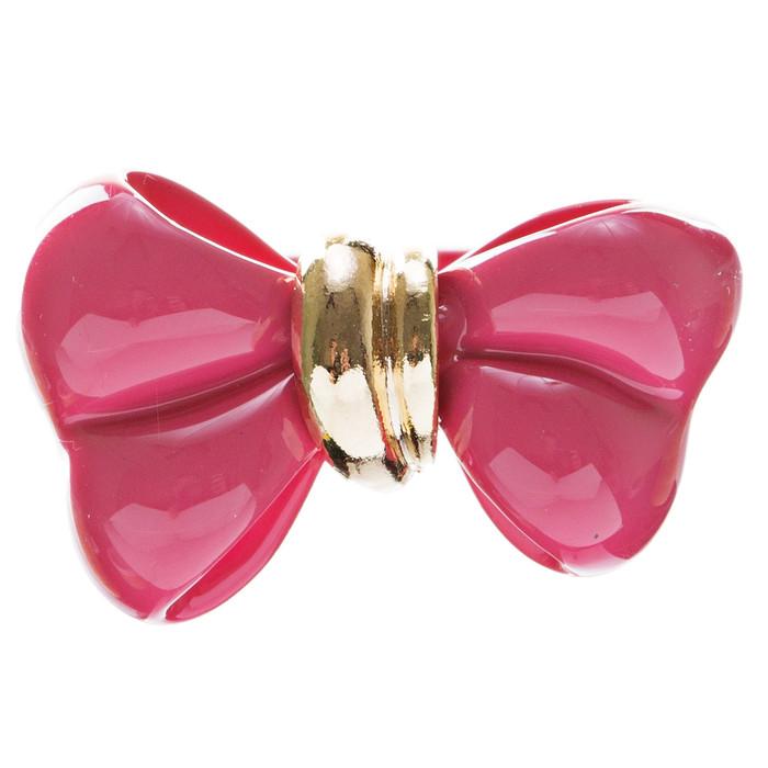 Adorable Cute Epoxy Bow Tie Ribbon Adjustable Stretch Fashion Ring Fuchsia Pink