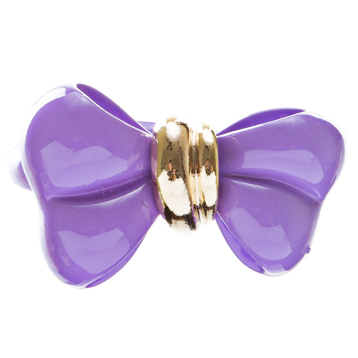 Adorable Cute Epoxy Bow Tie Ribbon Adjustable Stretch Fashion Ring Purple