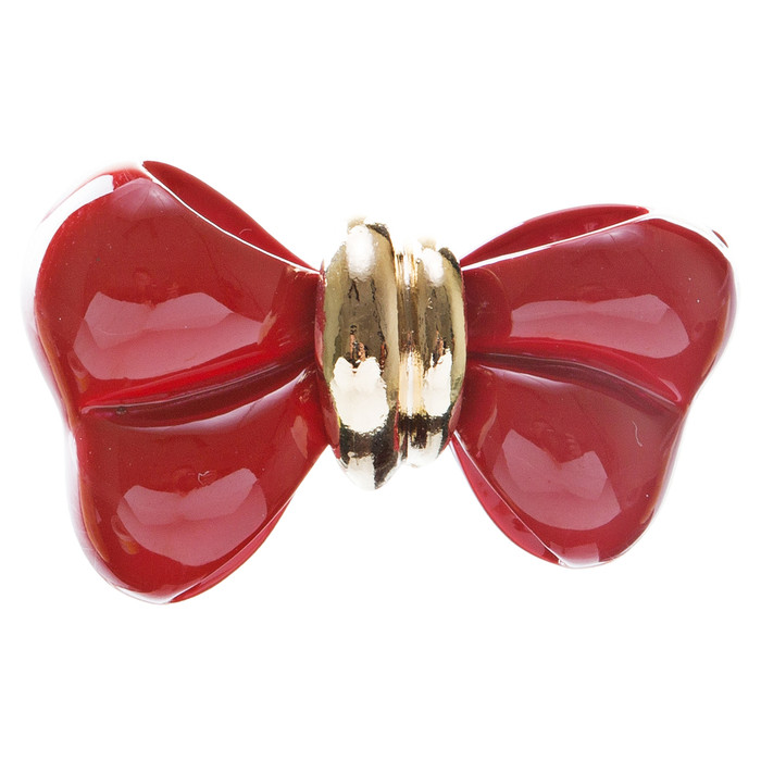 Adorable Cute Epoxy Bow Tie Ribbon Adjustable Stretch Fashion Ring Red
