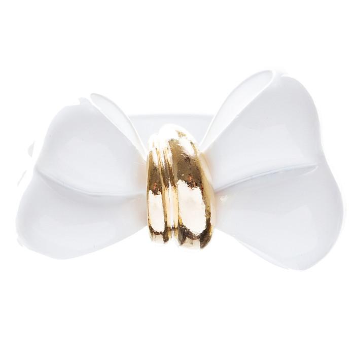 Adorable Cute Epoxy Bow Tie Ribbon Adjustable Stretch Fashion Ring White