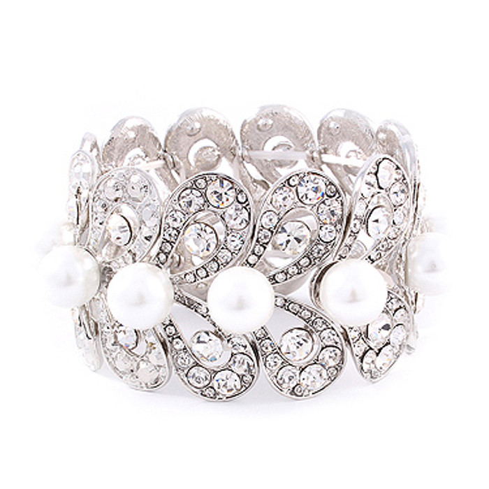 Bridal Wedding Jewelry Stunning Beautiful Crystal Pearl Stretch Bracelet Silver