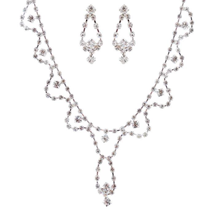 Bridal Jewelry Set Crystal Rhinestone White CL JS00128