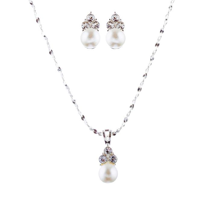Bridal Wedding Jewelry Set Crystal Rhinestone Pearl Simple Design Silver White